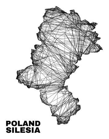Net irregular mesh Silesian Voivodeship map. Abstract lines form Silesian Voivodeship map. Linear carcass flat net in vector format.
