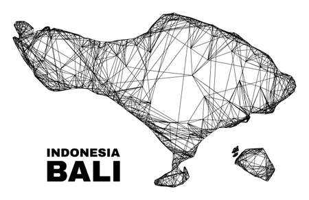 Net irregular mesh Bali map. Abstract lines are combined into Bali map. Linear carcass 2D net in vector format. Vector carcass is created for Bali map using intersected random lines.