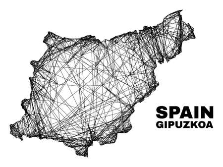 Wire frame irregular mesh Gipuzkoa Province map. Abstract lines are combined into Gipuzkoa Province map. Wire frame flat network in vector format.