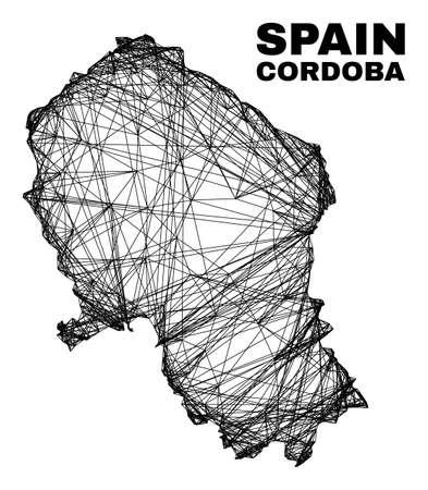 Wire frame irregular mesh Cordoba Spanish Province map. Abstract lines form Cordoba Spanish Province map. Wire frame flat net in vector format. 일러스트
