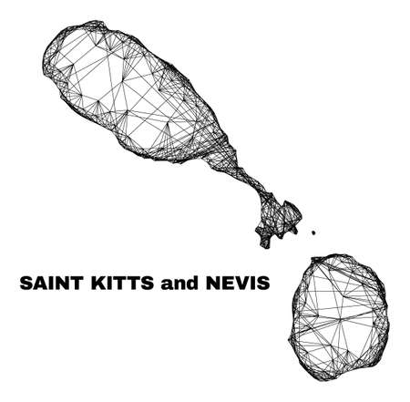 Network irregular mesh Saint Kitts and Nevis map. Abstract lines are combined into Saint Kitts and Nevis map. Wire frame 2D network in vector format.