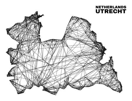 Wire frame irregular mesh Utrecht Province map. Abstract lines are combined into Utrecht Province map. Wire frame 2D network in vector format. 일러스트