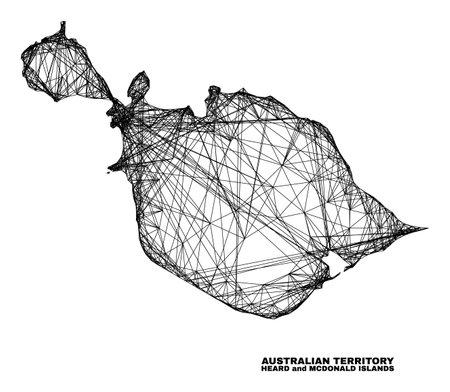 Wire frame irregular mesh Heard and McDonald Islands map. Abstract lines form Heard and McDonald Islands map. Linear carcass 2D net in vector format. 일러스트