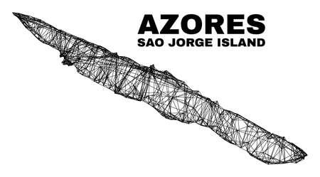 Wire frame irregular mesh Sao Jorge Island map. Abstract lines form Sao Jorge Island map. Wire frame 2D net in vector format. 일러스트