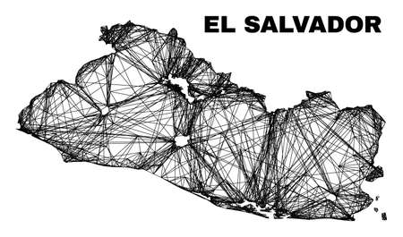 Wire frame irregular mesh El Salvador map. Abstract lines are combined into El Salvador map. Wire carcass flat net in vector format.
