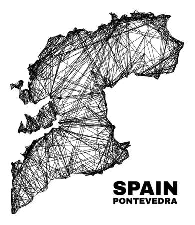 carcass irregular mesh Pontevedra Province map. Abstract lines are combined into Pontevedra Province map. Linear carcass 2D net in vector format. 일러스트