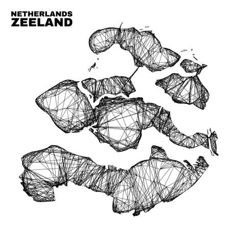 Wire frame irregular mesh Zeeland Province map. Abstract lines are combined into Zeeland Province map. Wire frame flat net in vector format. 일러스트