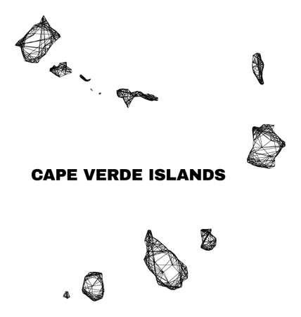 Network irregular mesh Cape Verde Islands map. Abstract lines form Cape Verde Islands map. Linear carcass 2D network in vector format.