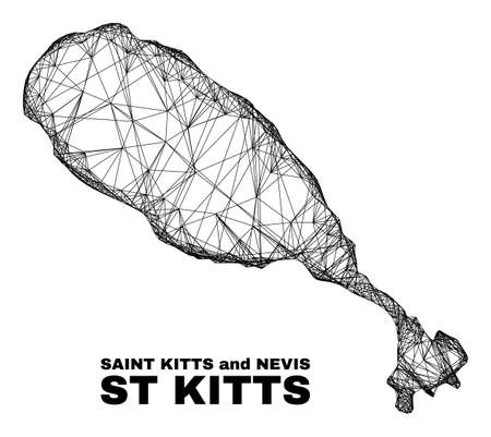 Wire frame irregular mesh St Kitts Island map. Abstract lines are combined into St Kitts Island map. Wire frame 2D net in vector format. 일러스트