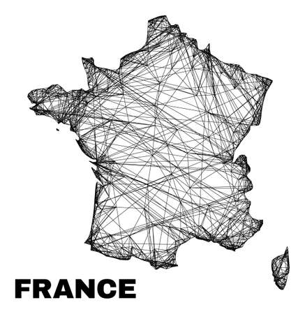carcass irregular mesh France map. Abstract lines form France map. Wire carcass flat net in vector format. Vector carcass is created for France map using intersected random lines. 일러스트