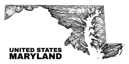 Network irregular mesh Maryland State map. Abstract lines are combined into Maryland State map. Linear carcass flat network in vector format.