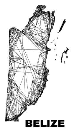 Wire frame irregular mesh Belize map. Abstract lines are combined into Belize map. Wire frame 2D net in vector format. Vector model is created for Belize map using crossing random lines. 일러스트