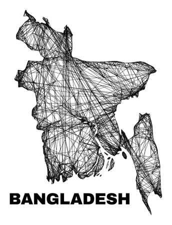 carcass irregular mesh Bangladesh map. Abstract lines are combined into Bangladesh map. Linear carcass 2D network in vector format. 일러스트