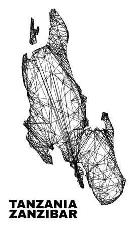 Wire frame irregular mesh Zanzibar Island map. Abstract lines are combined into Zanzibar Island map. Wire carcass flat net in vector format.