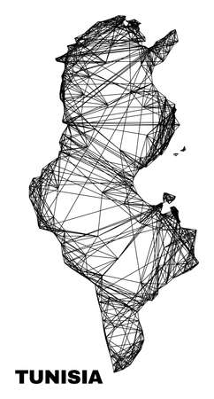 carcass irregular mesh Tunisia map. Abstract lines are combined into Tunisia map. Wire carcass 2D network in vector format. Vector carcass is created for Tunisia map using intersected random lines.
