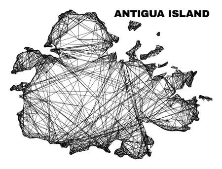carcass irregular mesh Antigua Island map. Abstract lines are combined into Antigua Island map. Linear carcass flat net in vector format.