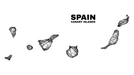carcass irregular mesh Canary Islands map. Abstract lines are combined into Canary Islands map. Linear carcass 2D network in vector format. 일러스트