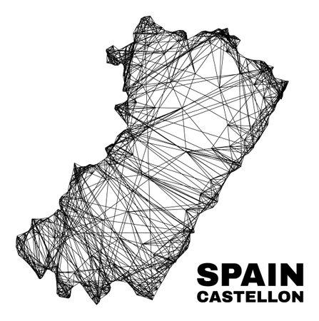 Net irregular mesh Castellon Province map. Abstract lines form Castellon Province map. Wire frame flat net in vector format.