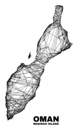 Wire frame irregular mesh Masirah Island map. Abstract lines form Masirah Island map. Wire carcass flat network in vector format.