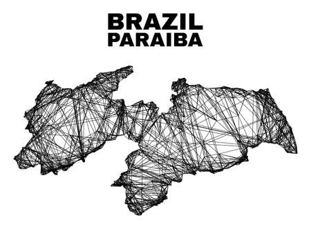 Net irregular mesh Paraiba State map. Abstract lines form Paraiba State map. Linear carcass flat net in vector format. Vector carcass is created for Paraiba State map using intersected random lines.