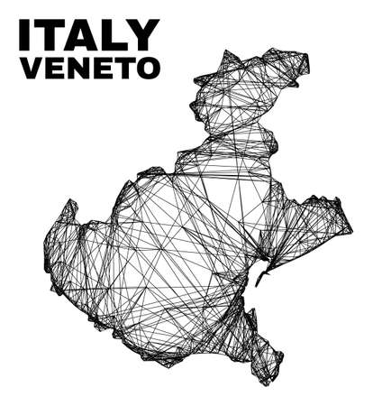 carcass irregular mesh Veneto region map. Abstract lines are combined into Veneto region map. Linear carcass 2D network in vector format.