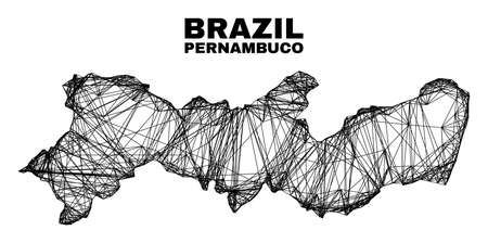 Wire frame irregular mesh Pernambuco State map. Abstract lines form Pernambuco State map. Wire carcass 2D network in vector format.