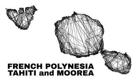 Wire frame irregular mesh Tahiti and Moorea islands map. Abstract lines are combined into Tahiti and Moorea islands map. Linear frame flat net in vector format.
