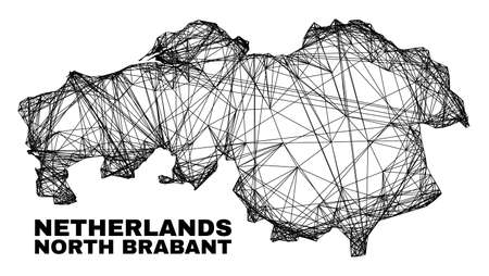 Wire frame irregular mesh North Brabant Province map. Abstract lines are combined into North Brabant Province map. Wire frame flat net in vector format. 일러스트
