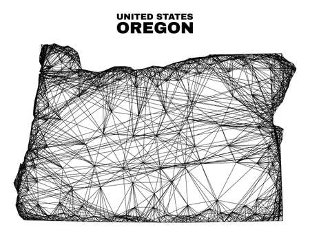 Wire frame irregular mesh Oregon State map. Abstract lines form Oregon State map. Wire frame flat net in vector format. Vector model is created for Oregon State map using intersected random lines. 일러스트