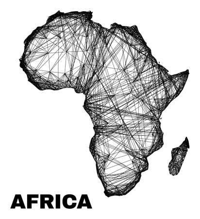 Network irregular mesh Africa map. Abstract lines form Africa map. Wire carcass 2D network in vector format. Vector structure is created for Africa map using crossing random lines.
