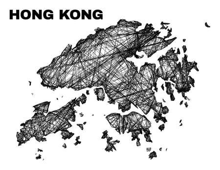 carcass irregular mesh Hong Kong map. Abstract lines form Hong Kong map. Wire carcass flat network in vector format. Vector model is created for Hong Kong map using intersected random lines.