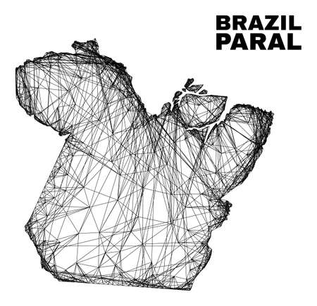 carcass irregular mesh Paral State map. Abstract lines are combined into Paral State map. Wire carcass 2D net in vector format.