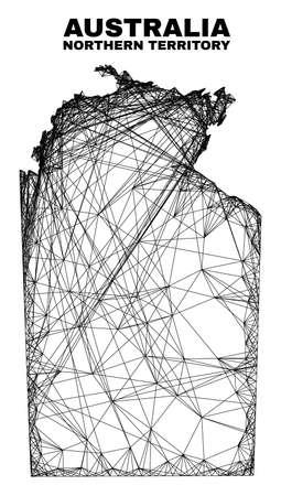Wire frame irregular mesh Australian Northern Territory map. Abstract lines form Australian Northern Territory map. Linear frame flat net in vector format. 일러스트