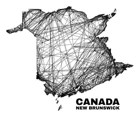 Wire frame irregular mesh New Brunswick Province map. Abstract lines form New Brunswick Province map. Wire frame 2D network in vector format.