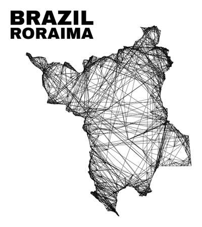 Wire frame irregular mesh Roraima State map. Abstract lines are combined into Roraima State map. Wire frame 2D net in vector format.