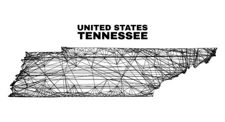 Wire frame irregular mesh Tennessee State map. Abstract lines form Tennessee State map. Linear frame flat network in vector format.