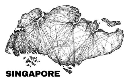 Wire frame irregular mesh Singapore map. Abstract lines are combined into Singapore map. Wire frame 2D net in vector format. Vector carcass is created for Singapore map using crossing random lines.