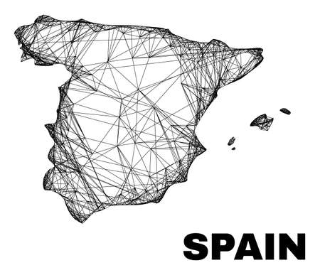 Wire frame irregular mesh Spain map. Abstract lines form Spain map. Wire frame 2D net in vector format. Vector structure is created for Spain map using intersected random lines.