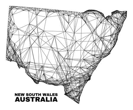 Network irregular mesh New South Wales map. Abstract lines form New South Wales map. Linear carcass 2D network in vector format. 일러스트