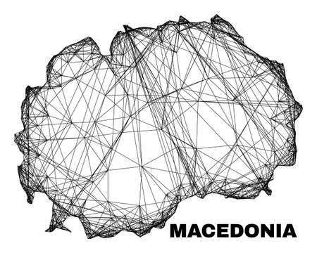 Wire frame irregular mesh Macedonia map. Abstract lines are combined into Macedonia map. Wire frame 2D net in vector format.