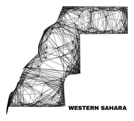 carcass irregular mesh Western Sahara map. Abstract lines are combined into Western Sahara map. Linear carcass 2D net in vector format.