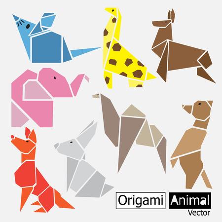 pink elephant: Origami animal design Illustration