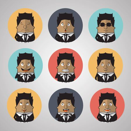 worried executive: Vintage businessman emotion Illustration
