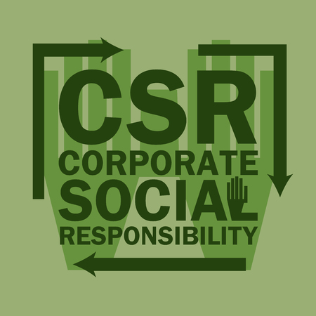 corporate social: logo acronimo Corporate Social Responsibility (CSR), le imprese concetto vettore