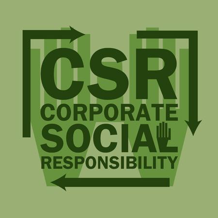 corporate social: logo acronym Corporate Social Responsibility (CSR), business vector concept Illustration