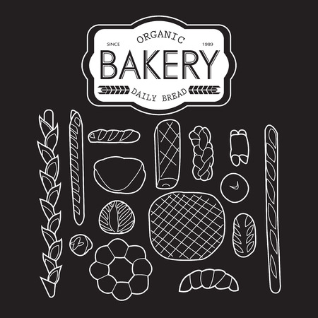 processed grains: France bakery collection black and white Illustration