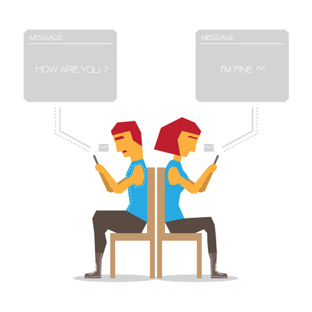 Couple mail without talk design Vector Illustration