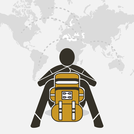 backpacker: Backpacker sit relax on world map design