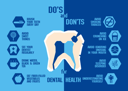 Info graphic for dental health , blue tone Illustration