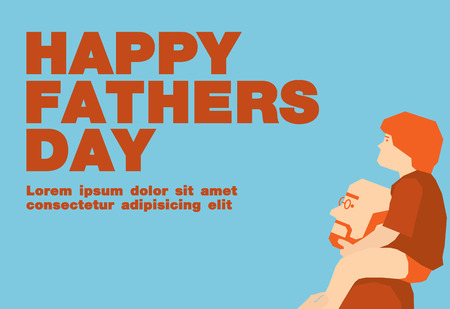 happy fathers day card: Happy fathers day cardBlue and orange tone design Illustration